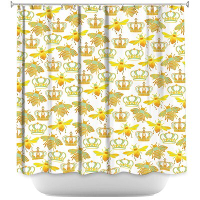 Queen Honey Bees Shower Curtain Color: Yellow/White