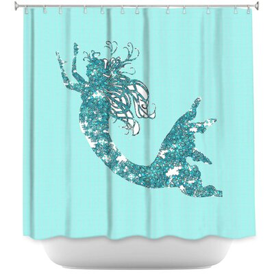 Bellingham Mermaid II Shower Curtain Color: Aqua/White
