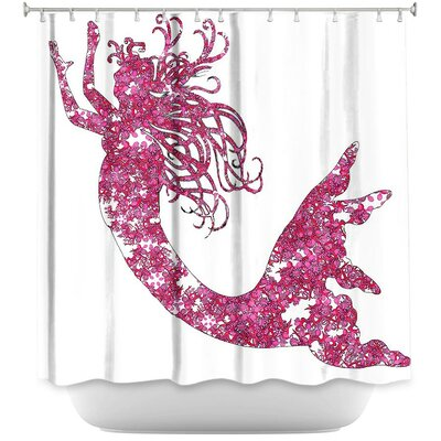 Bellingham Mermaid Shower Curtain Color: Pink/White