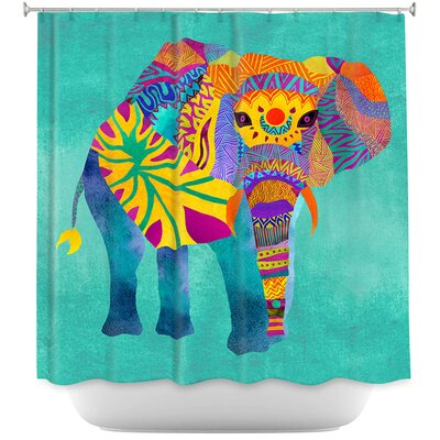 Wiechmann Whimsical Elephant Shower Curtain Color: Blue/Yellow