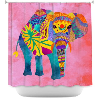 Wiechmann Whimsical Elephant Shower Curtain Color: Pink/Yellow