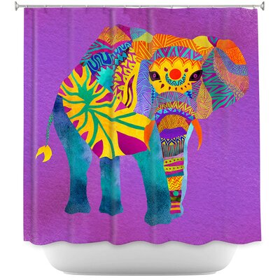 Wiechmann Whimsical Elephant Shower Curtain Color: Purple/Yellow