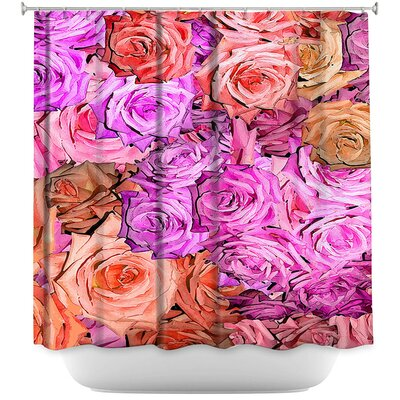 Roses Lavender Shower Curtain Color: Pink/Brown