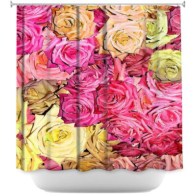 Roses Lavender Shower Curtain Color: Green/Brown