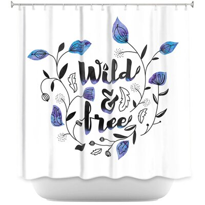 Wild and Free Shower Curtain Color: Blue/Black