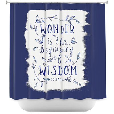 Wonder is Wisdom Shower Curtain Color: Navy/White