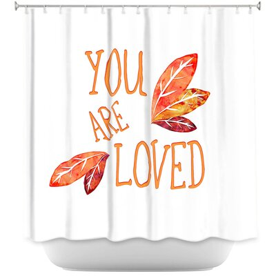 You Are Loved Naranja Leaves Shower Curtain Color: Orange/White