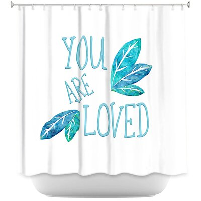 You Are Loved Naranja Leaves Shower Curtain Color: Teal/White