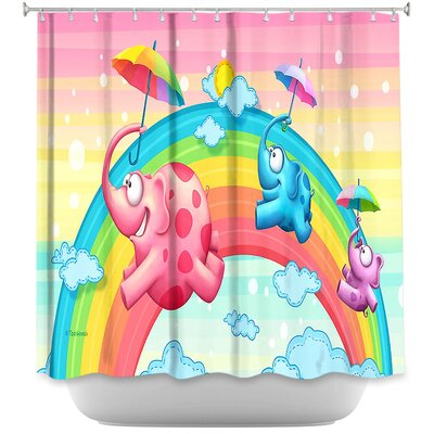 Laceys Rainbow Elephants Shower Curtain