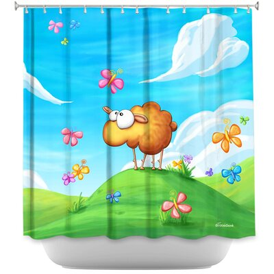 Wallo the Sheep Shower Curtain Color: Pink/Blue