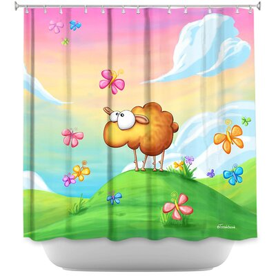 Wallo the Sheep Shower Curtain Color: Pink/Peach