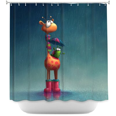 Winter Giraffe Shower Curtain