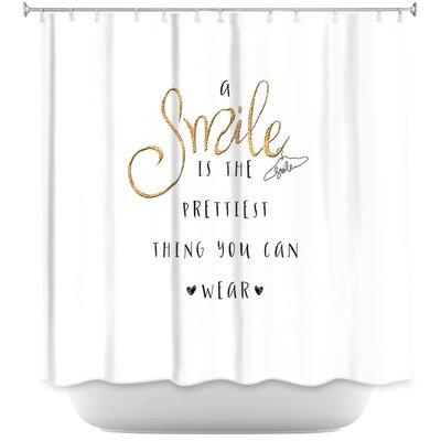 Luker A Smile Sparkle Shower Curtain Color: Black/Gold