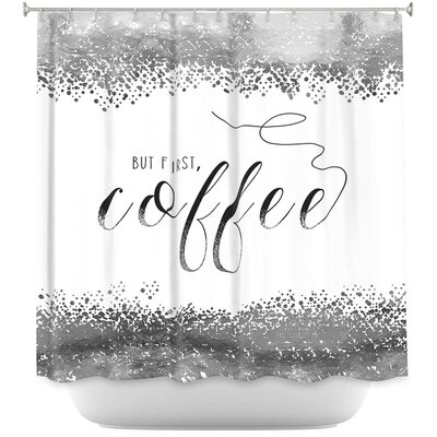But First Coffee Shower Curtain Color: Navy Blue