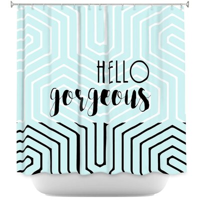 Hello Gorgeous Geo Shower Curtain Color: Pink/Purple