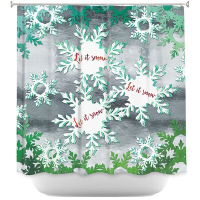 Let It Snow Silver Shower Curtain Color: Blue/Black