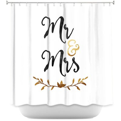 Mr. And Mrs. Shower Curtain Color: Black/White