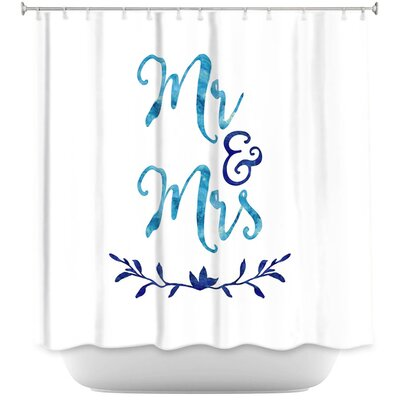 Mr. And Mrs. Shower Curtain Color: Navy/White