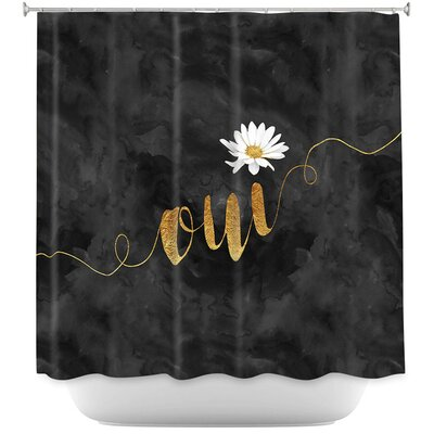 Oui Daisy Shower Curtain Color: Orange/White