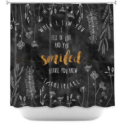 When I Saw You Shower Curtain Color: Black/Gold