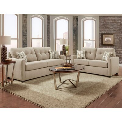 Caster Tufted 2 Piece Living Room Set