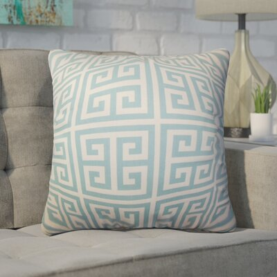 Dufault Greek Key Cotton Throw Pillow Cover Color: Blue