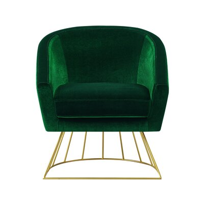 Hirano Barrel Accent Chair Upholstery: Green/Gold