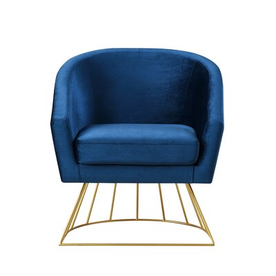 Hirano Barrel Accent Chair Upholstery: Navy/Gold