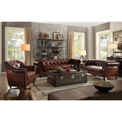 Drage 3 Piece Leather Living Room Set