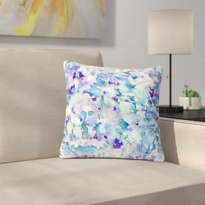 Carolyn Greifeld Floral Fantasy Outdoor Throw Pillow Size: 18 H x 18 W x 5 D, Color: Blue/White