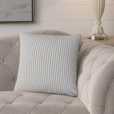 Melinda Stripes 18 Square Throw Pillow Cover Color: Slate