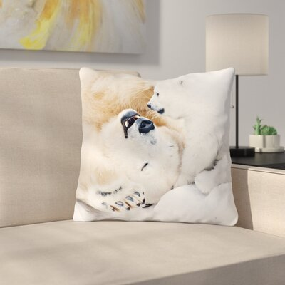 Polar Bear Happiness Throw Pillow Size: 18 x 18