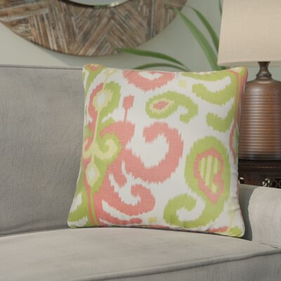 Arlie Ikat Cotton Throw Pillow Color: Pink/Green