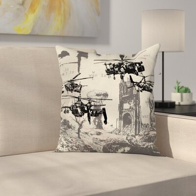 Fabric Case Hand Drawn War Scenery Square Pillow Cover Size: 24 x 24