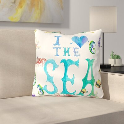 I Love The Sea by Catherine Holcombe Throw Pillow Size: 16 H x 16 W x 3 D