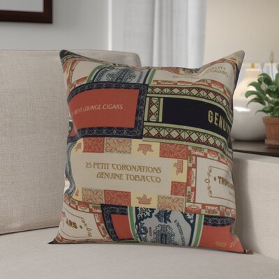 Gasaway Cigar Box Throw Pillow Color: Red/Orange, Size: 20 x 20