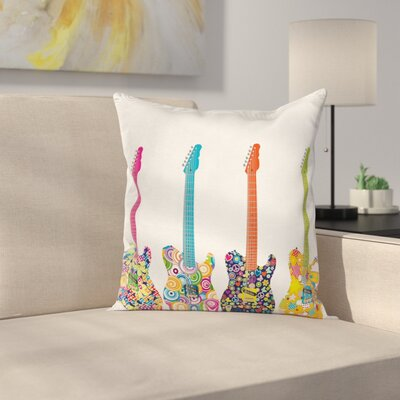 Electric Guitars Square Pillow Cover Size: 18 x 18
