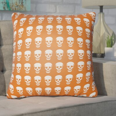 Calindra Skulls Throw Pillow Size: 18 H x 18 W x 4 D, Color: Orange