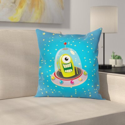 Cute Comic UFO and Alien Square Pillow Cover Size: 18 x 18