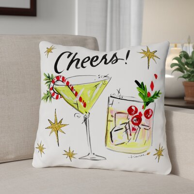 Christmas Cocktails Throw Pillow Size: 16 x 16