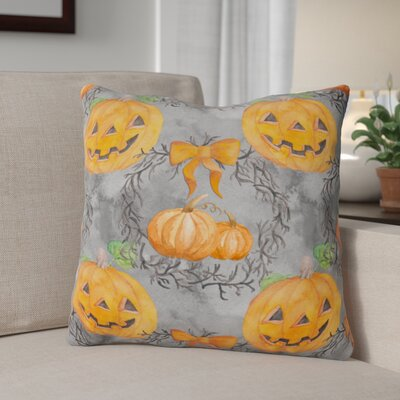 Watecolor Halloween Pumpkins Outdoor Throw Pillow