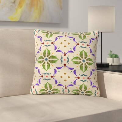 Laura Nicholson Kissing Budgies Geometric Outdoor Throw Pillow Size: 16 H x 16 W x 5 D