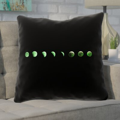 Enciso Moon Phase Double Sided Print Throw Pillow Color: Green