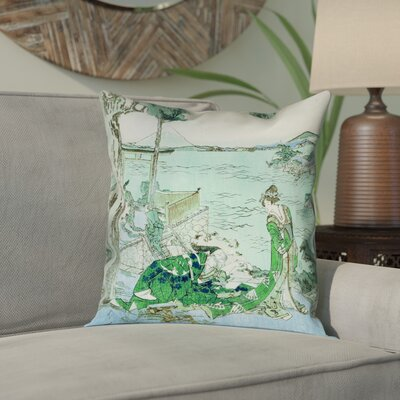 Enya Japanese Courtesan Square Cotton Pillow Cover Color: Green/Blue, Size: 18 x 18