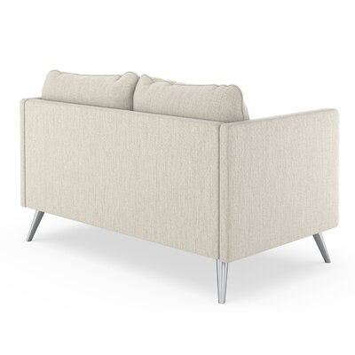 Schiavone Satin Weave Loveseat Upholstery: Wheat, Finish: Chrome