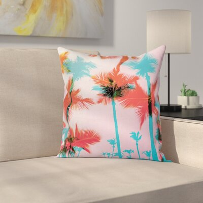 Palm Tree Silhouettes Square Pillow Cover Size: 20 x 20