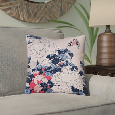Clair Peonies and Butterfly Square Waterproof Throw Pillow Size: 18 H x 18 W, Color: Blue/Pink