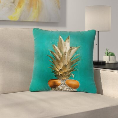 24 Karat Pineapple Digital Outdoor Throw Pillow Size: 18 H x 18 W x 5 D