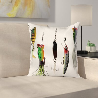Fish Hunting Sea Animals Theme Square Pillow Cover Size: 20 x 20