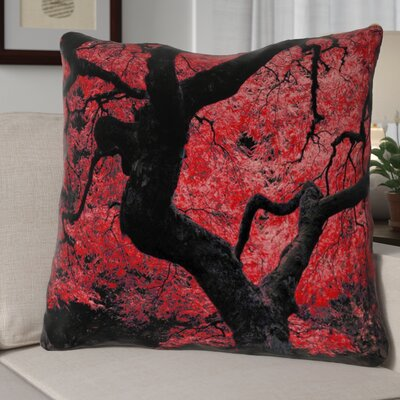 Ghost Train Japanese Maple Tree Square Linen Pillow Cover Color: Red, Size: 16 x 16